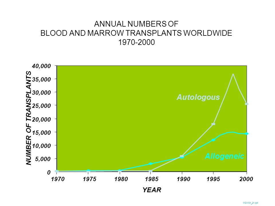 ALLOGENEIC STEM CELL SOURCES BY AGE 1995-2000 % OF TRANSPLANTS SUM02_27.ppt 100 0 20 40 60 80 1995-19971998-20001995-19971998-2000 Bone Marrow Peripheral Blood Cord Blood Age 20 yrs