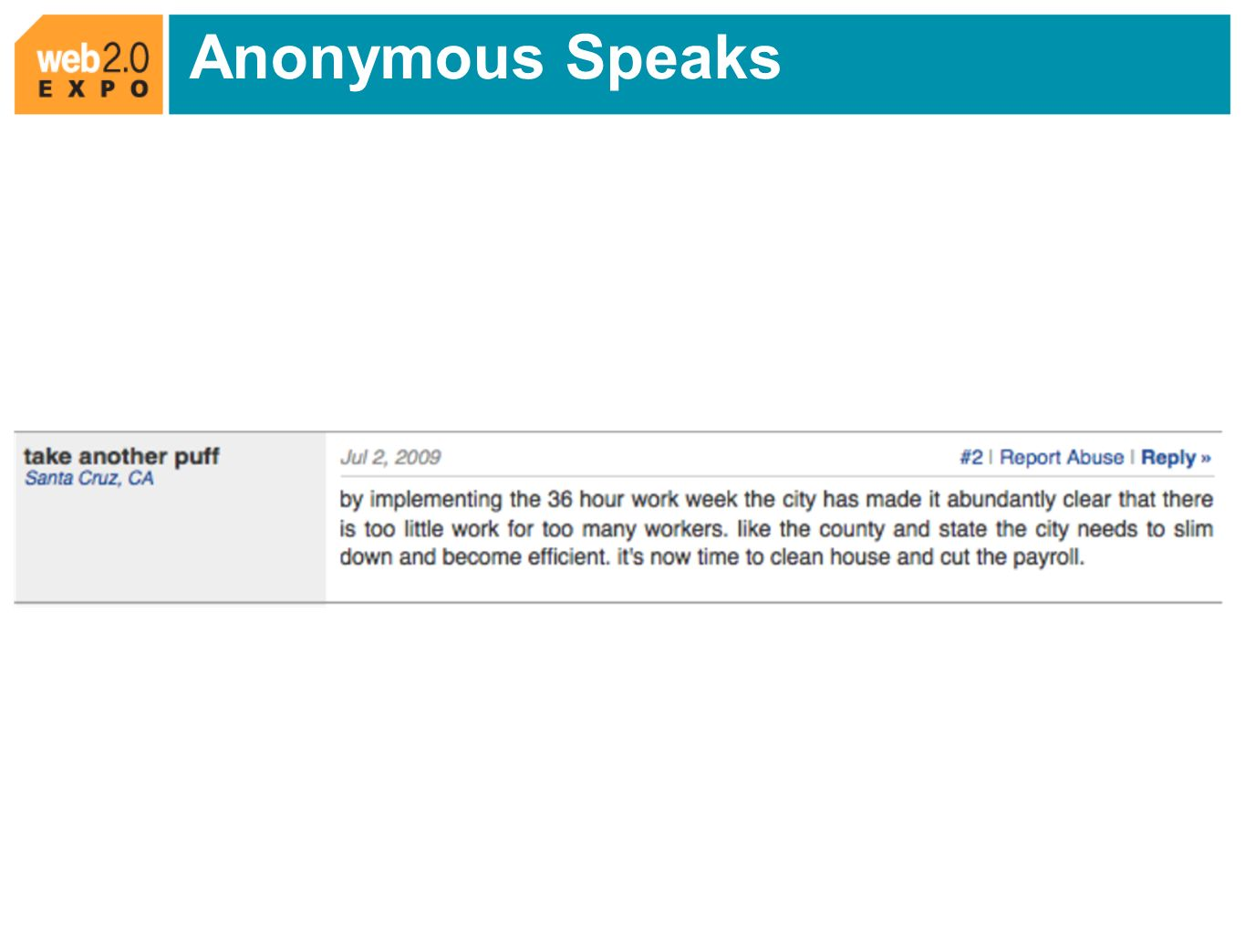 Anonymous Speaks