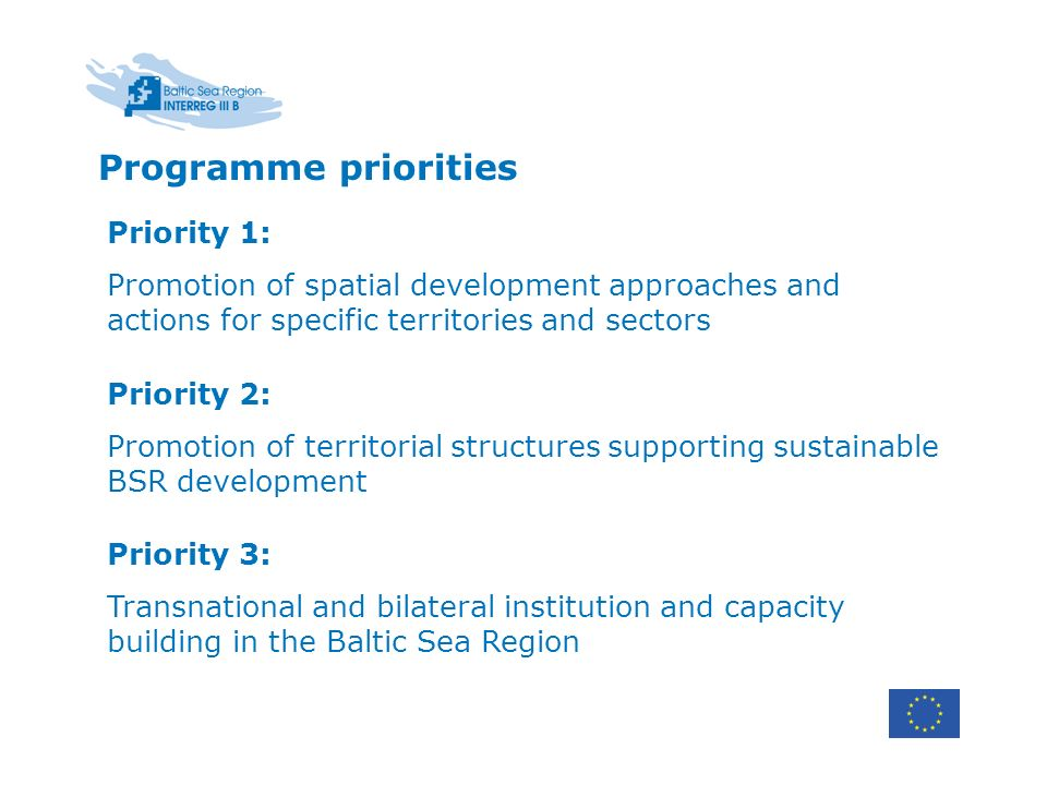 Priority 1: Promotion of spatial development approaches and actions for specific territories and sectors Priority 2: Promotion of territorial structur