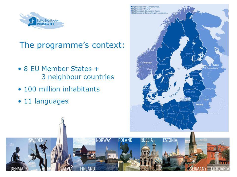 8 EU Member States + 3 neighbour countries 100 million inhabitants 11 languages The programmes context: