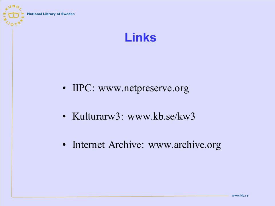www.kb.se Links IIPC: www.netpreserve.org Kulturarw3: www.kb.se/kw3 Internet Archive: www.archive.org