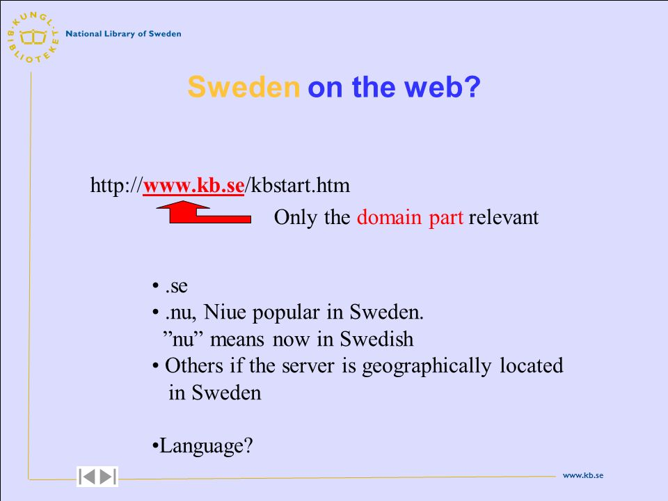 www.kb.se http://www.kb.se/kbstart.htm Only the domain part relevant Sweden on the web?.se.nu, Niue popular in Sweden. nu means now in Swedish Others