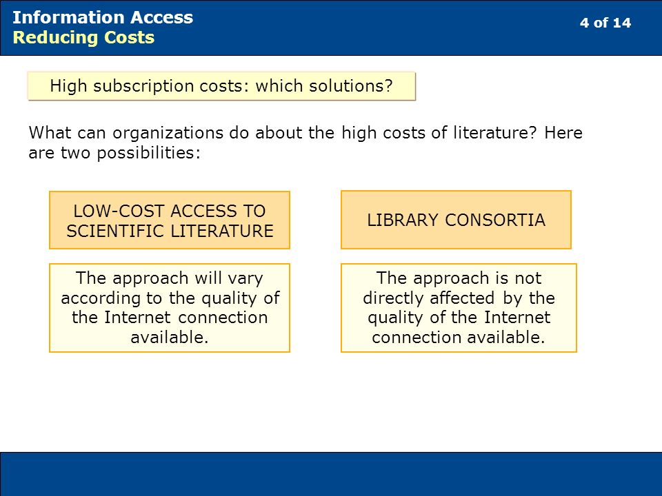 4 of 14 Information Access Reducing Costs High subscription costs: which solutions? What can organizations do about the high costs of literature? Here