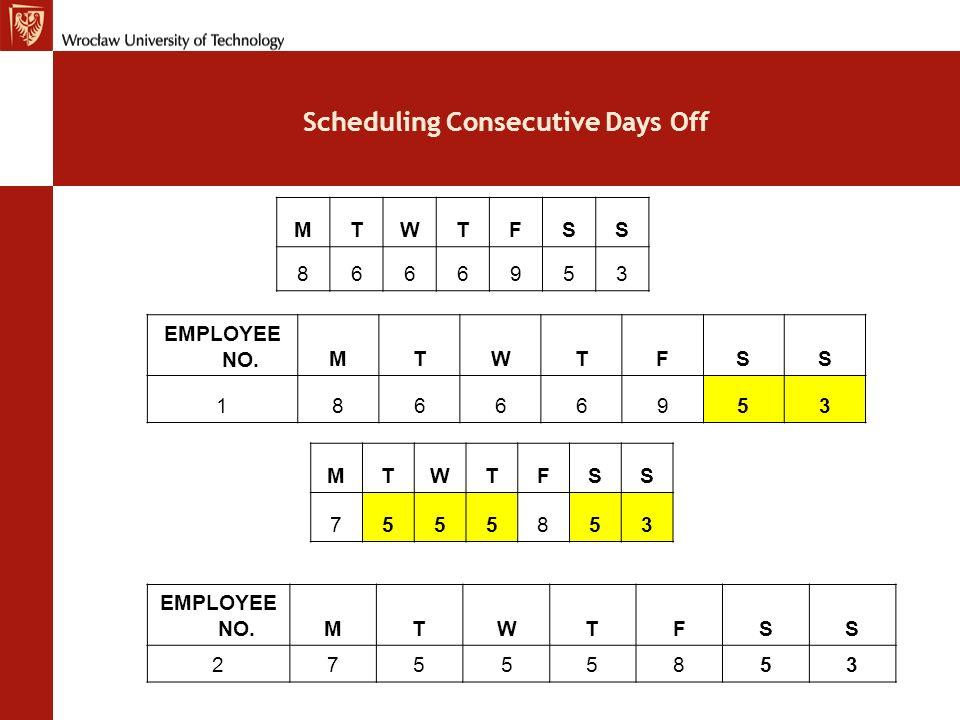 Scheduling Consecutive Days Off MTWTFSS 6444753 EMPLOYEE NO.MTWTFSS 36444753 MTWTFSS 5443642