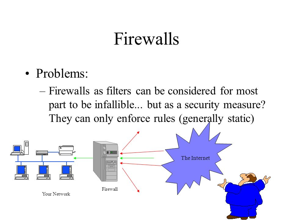 Firewalls Problems: –Firewalls as filters can be considered for most part to be infallible... but as a security measure? They can only enforce rules (
