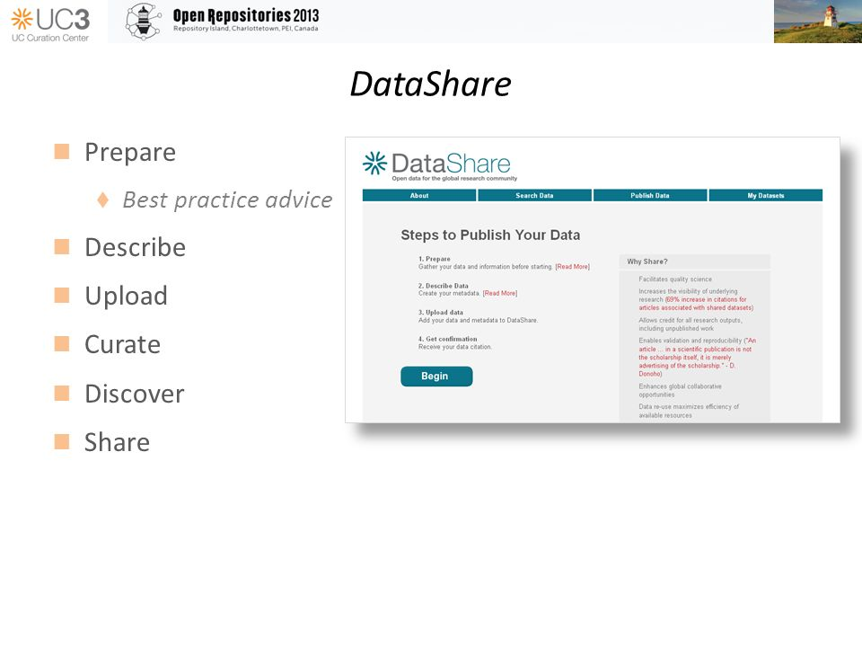 DataShare Prepare Best practice advice Describe Upload Curate Discover Share