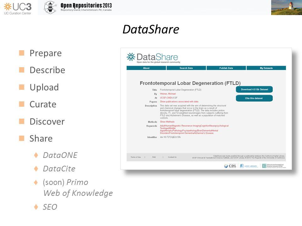 DataShare Prepare Describe Upload Curate Discover Share DataONE DataCite (soon) Primo Web of Knowledge SEO
