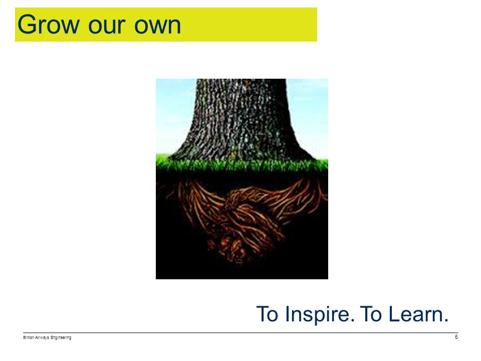 British Airways Engineering 5 To Inspire. To Learn. Grow our own