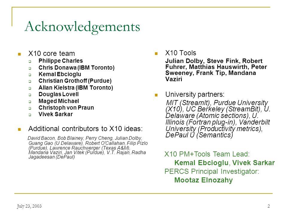 July 23, 20032 Acknowledgements X10 Tools Julian Dolby, Steve Fink, Robert Fuhrer, Matthias Hauswirth, Peter Sweeney, Frank Tip, Mandana Vaziri University partners: MIT (StreamIt), Purdue University (X10), UC Berkeley (StreamBit), U.
