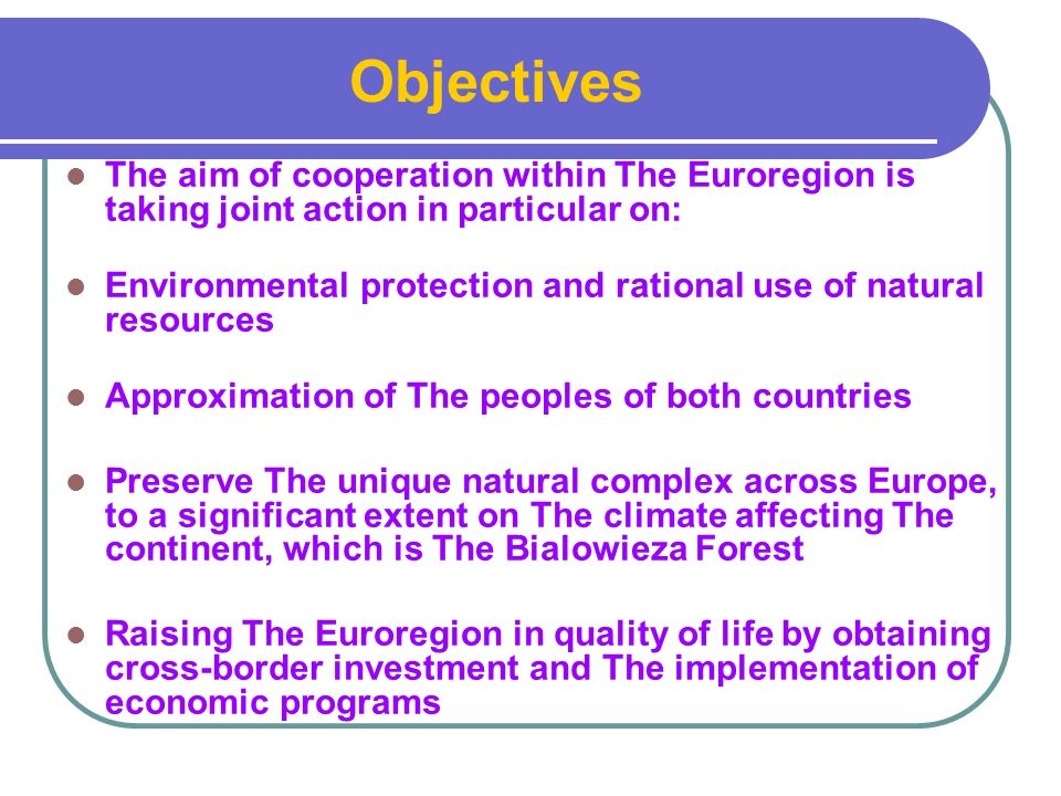 The aim of cooperation within The Euroregion is taking joint action in particular on: Environmental protection and rational use of natural resources Approximation of The peoples of both countries Preserve The unique natural complex across Europe, to a significant extent on The climate affecting The continent, which is The Bialowieza Forest Raising The Euroregion in quality of life by obtaining cross-border investment and The implementation of economic programs Objectives