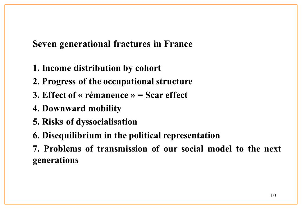 10 Seven generational fractures in France 1. Income distribution by cohort 2. Progress of the occupational structure 3. Effect of « rémanence » = Scar