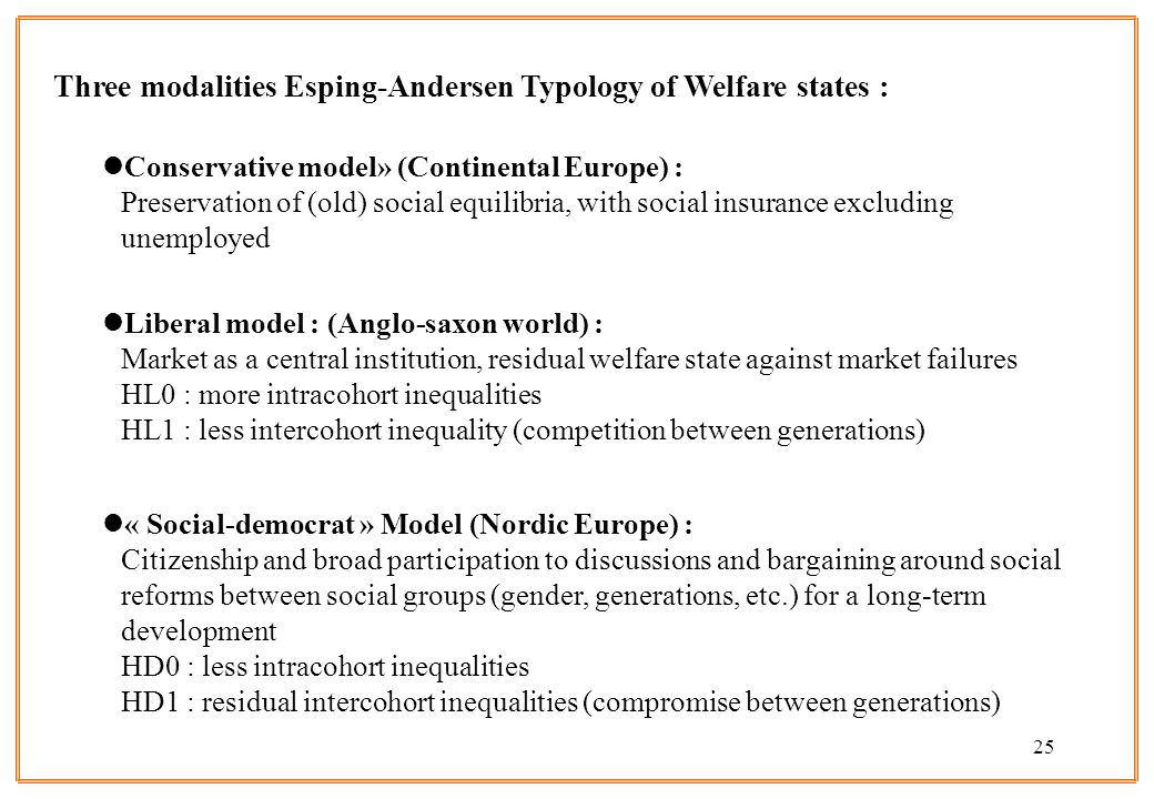 25 Three modalities Esping-Andersen Typology of Welfare states : lConservative model» (Continental Europe) : Preservation of (old) social equilibria,