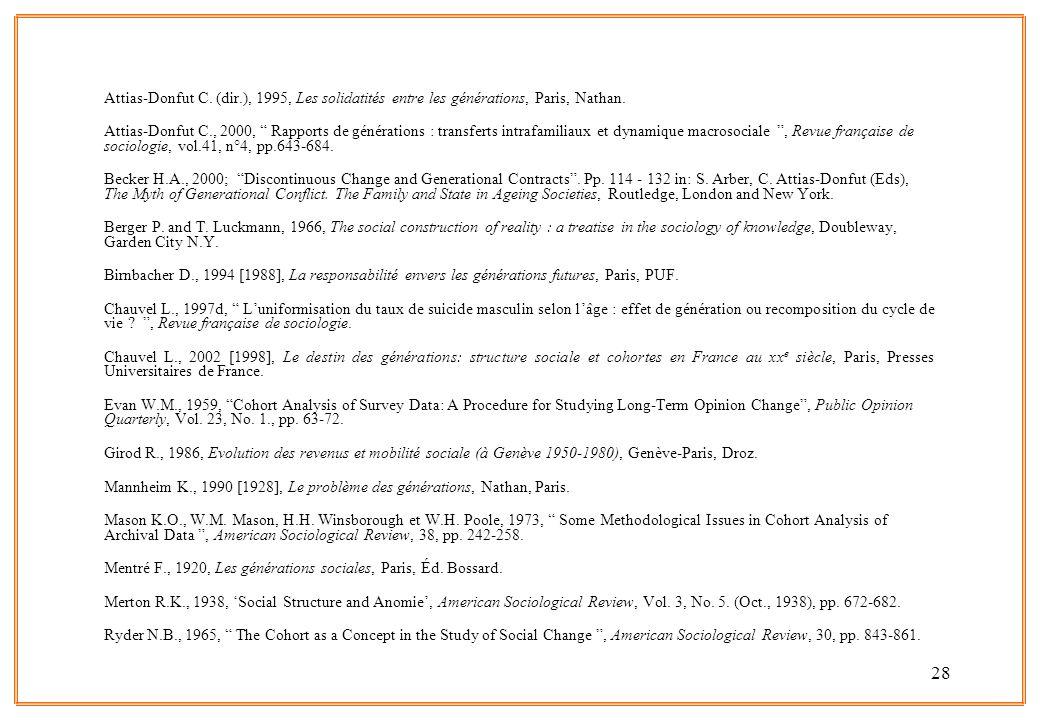 28 Attias-Donfut C. (dir.), 1995, Les solidatités entre les générations, Paris, Nathan. Attias-Donfut C., 2000, Rapports de générations : transferts i