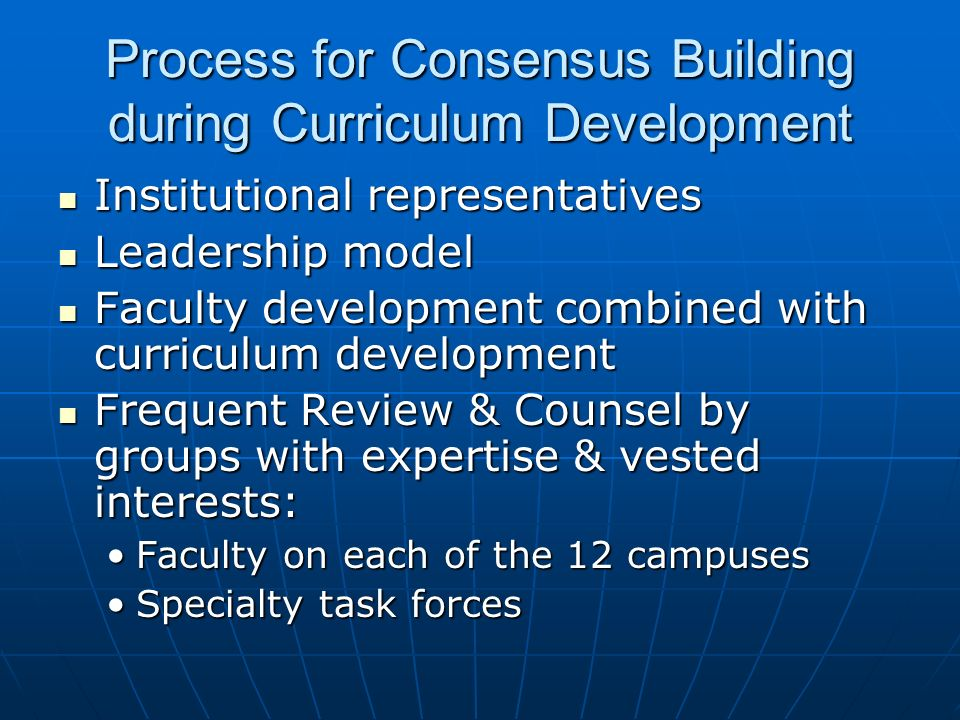 Process for Consensus Building during Curriculum Development Institutional representatives Institutional representatives Leadership model Leadership m