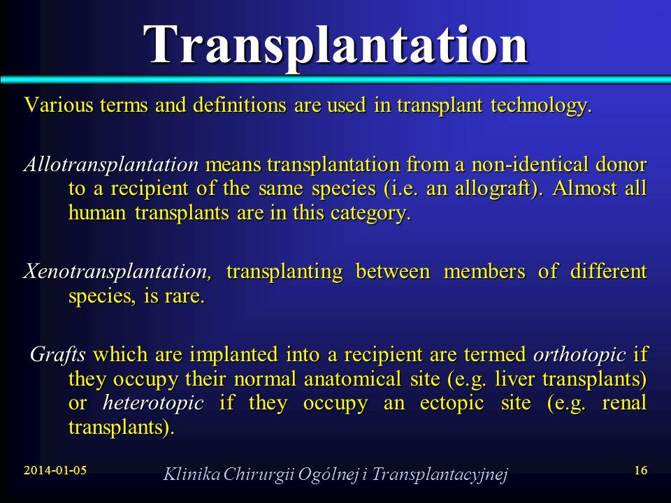 2014-01-05 Klinika Chirurgii Ogólnej i Transplantacyjnej 16 Transplantation Various terms and definitions are used in transplant technology. Allotrans