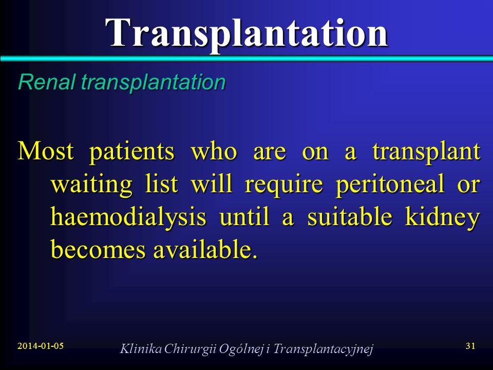 2014-01-05 Klinika Chirurgii Ogólnej i Transplantacyjnej 31 Transplantation Renal transplantation Most patients who are on a transplant waiting list w