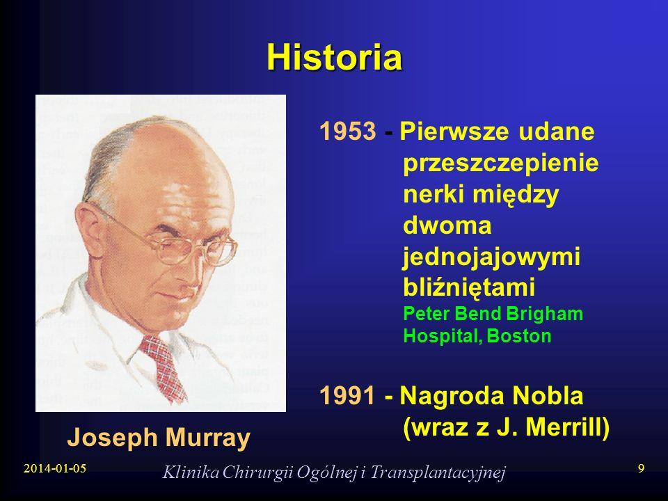 2014-01-05 Klinika Chirurgii Ogólnej i Transplantacyjnej 9 Historia Joseph Murray 1953 - Pierwsze udane przeszczepienie nerki między dwoma jednojajowy