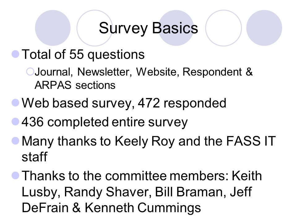 Survey Basics Total of 55 questions Journal, Newsletter, Website, Respondent & ARPAS sections Web based survey, 472 responded 436 completed entire sur