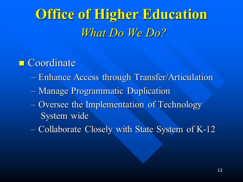 12 Office of Higher Education What Do We Do? Coordinate Coordinate –Enhance Access through Transfer/Articulation –Manage Programmatic Duplication –Ove