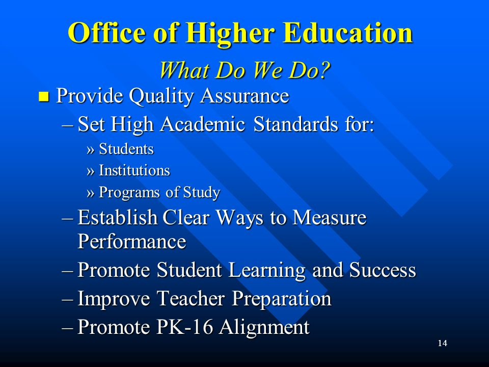 14 Office of Higher Education What Do We Do? Provide Quality Assurance Provide Quality Assurance –Set High Academic Standards for: »Students »Institut