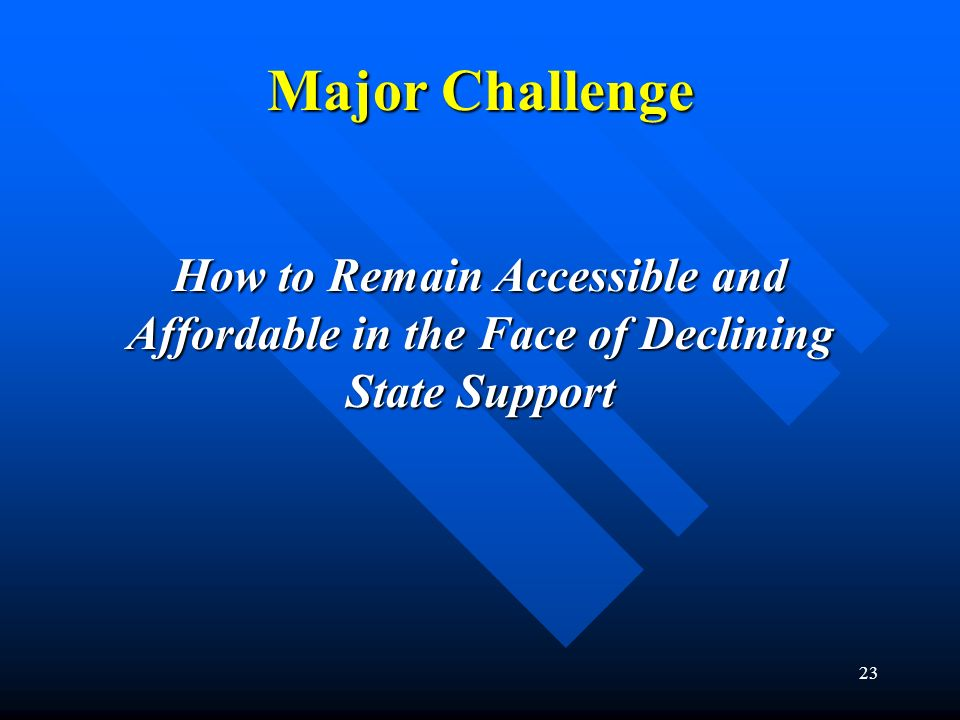23 Major Challenge How to Remain Accessible and Affordable in the Face of Declining State Support