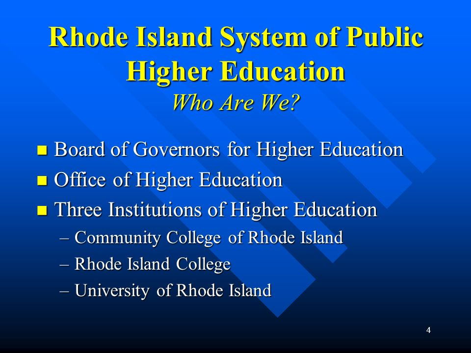 4 Rhode Island System of Public Higher Education Who Are We? Board of Governors for Higher Education Board of Governors for Higher Education Office of