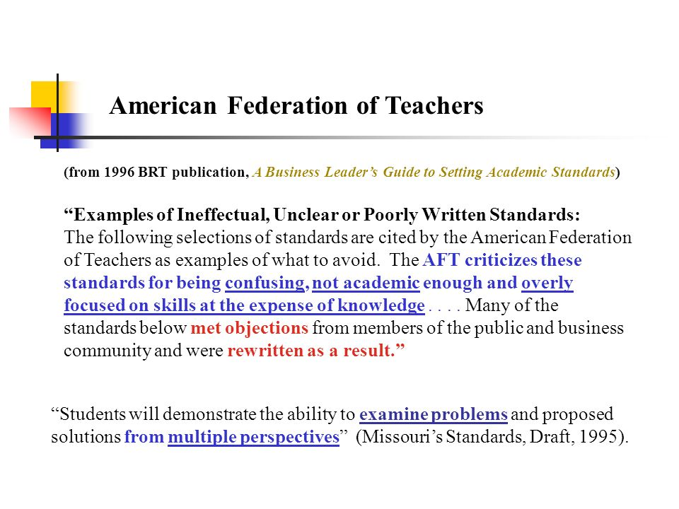 American Federation of Teachers (from 1996 BRT publication, A Business Leaders Guide to Setting Academic Standards) Examples of Ineffectual, Unclear o