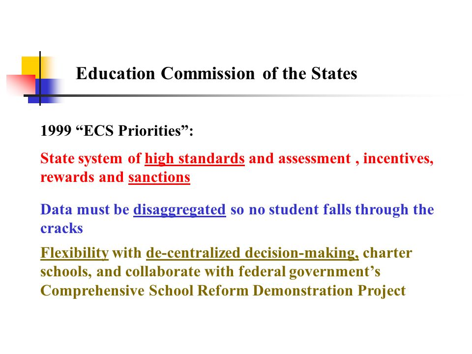 Education Commission of the States 1999 ECS Priorities: Data must be disaggregated so no student falls through the cracks Flexibility with de-centrali