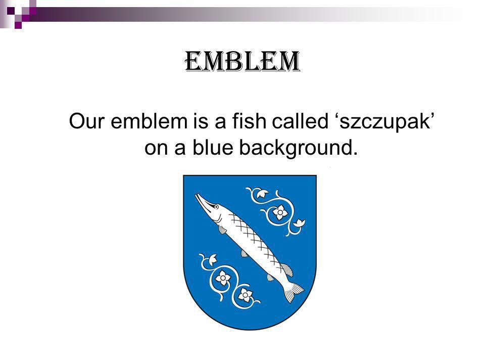 EMBLEM Our emblem is a fish called szczupak on a blue background.