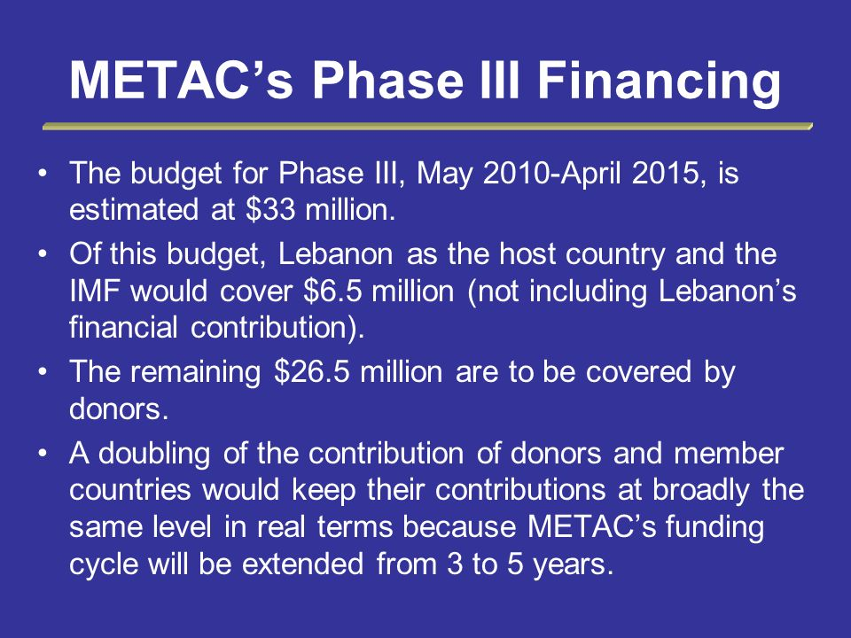 METACs Phase III Financing The budget for Phase III, May 2010-April 2015, is estimated at $33 million. Of this budget, Lebanon as the host country and