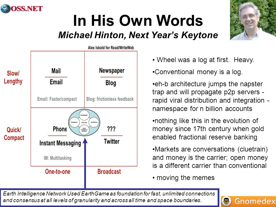 In His Own Words Michael Hinton, Next Years Keytone Wheel was a log at first. Heavy. Conventional money is a log. eh-b architecture jumps the napster