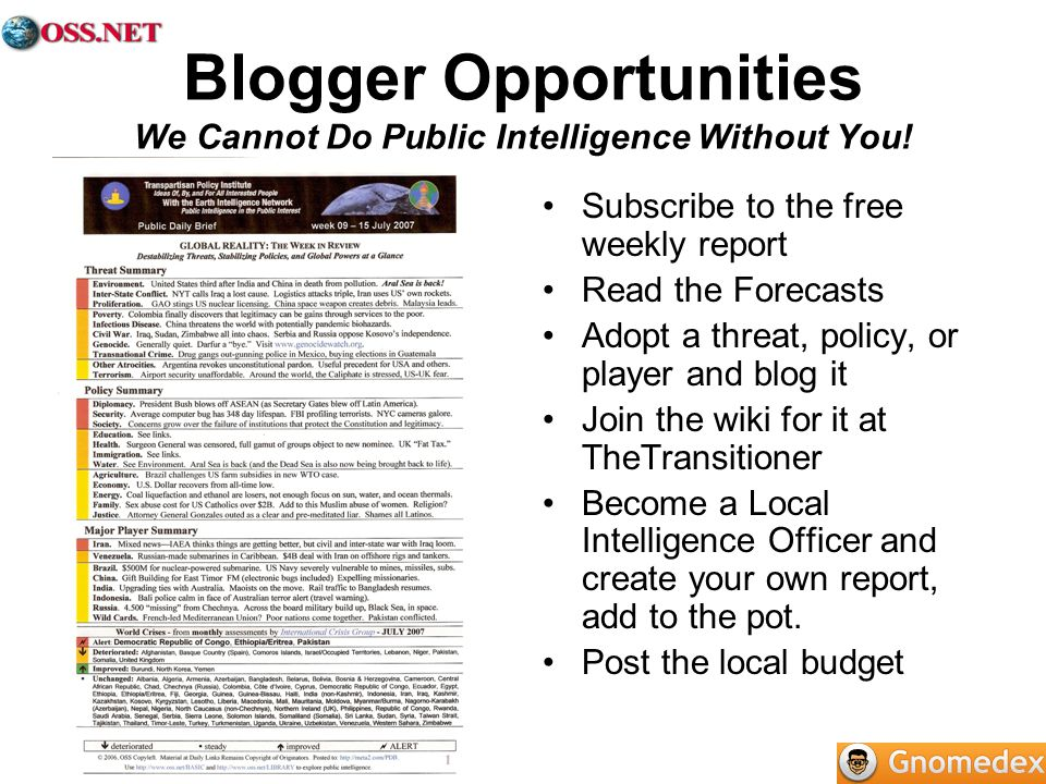 Blogger Opportunities We Cannot Do Public Intelligence Without You! Subscribe to the free weekly report Read the Forecasts Adopt a threat, policy, or