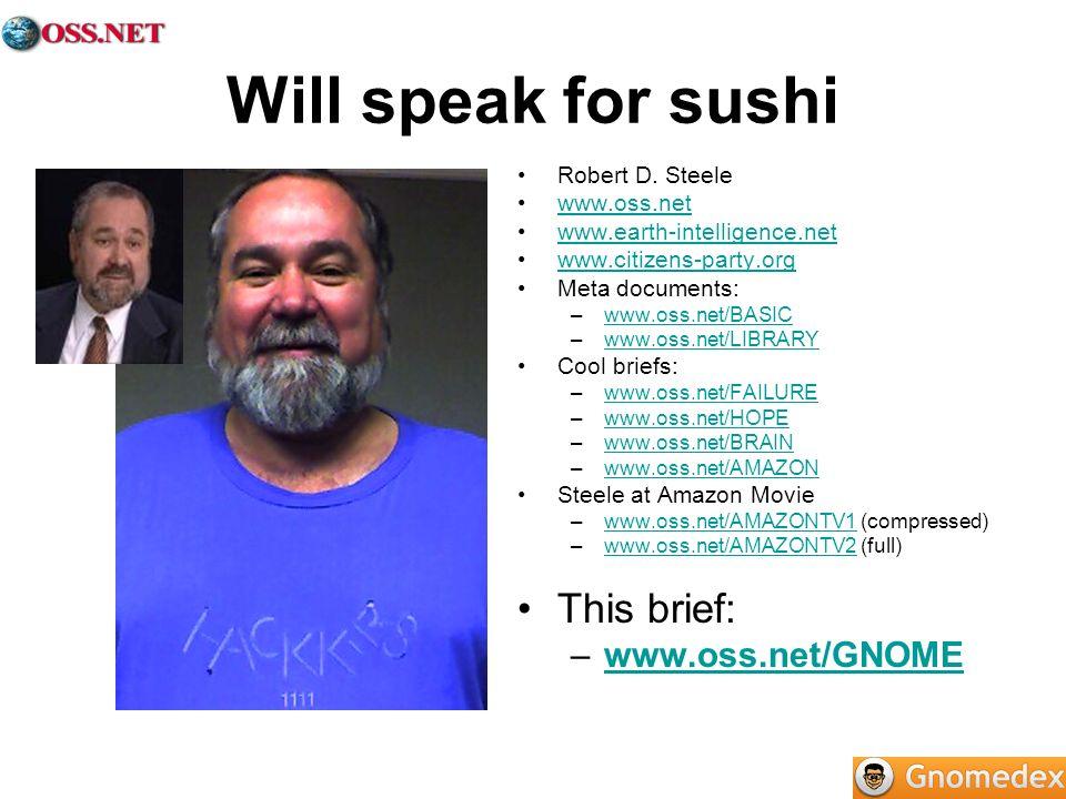 Will speak for sushi Robert D. Steele www.oss.net www.earth-intelligence.net www.citizens-party.org Meta documents: –www.oss.net/BASICwww.oss.net/BASI