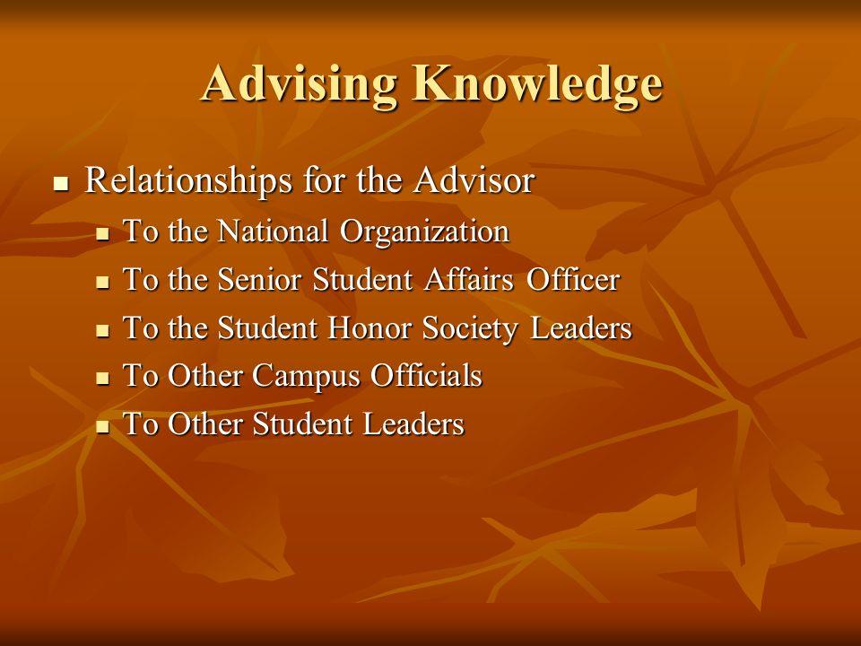 Advising Knowledge Relationships for the Advisor Relationships for the Advisor To the National Organization To the National Organization To the Senior
