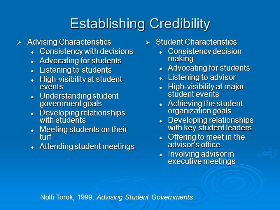 Establishing Credibility Advising Characteristics Advising Characteristics Consistency with decisions Consistency with decisions Advocating for studen