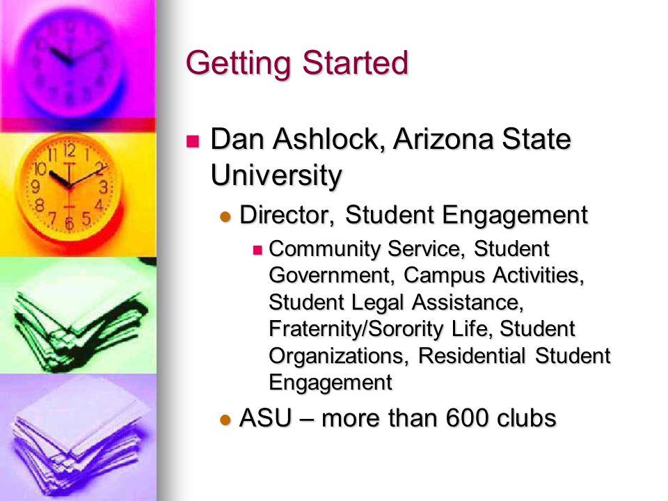 Getting Started Dan Ashlock, Arizona State University Dan Ashlock, Arizona State University Director, Student Engagement Director, Student Engagement