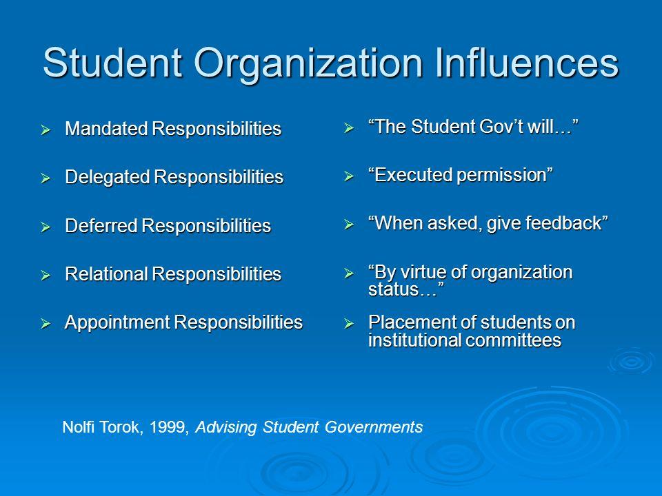 Student Organization Influences Mandated Responsibilities Mandated Responsibilities Delegated Responsibilities Delegated Responsibilities Deferred Res