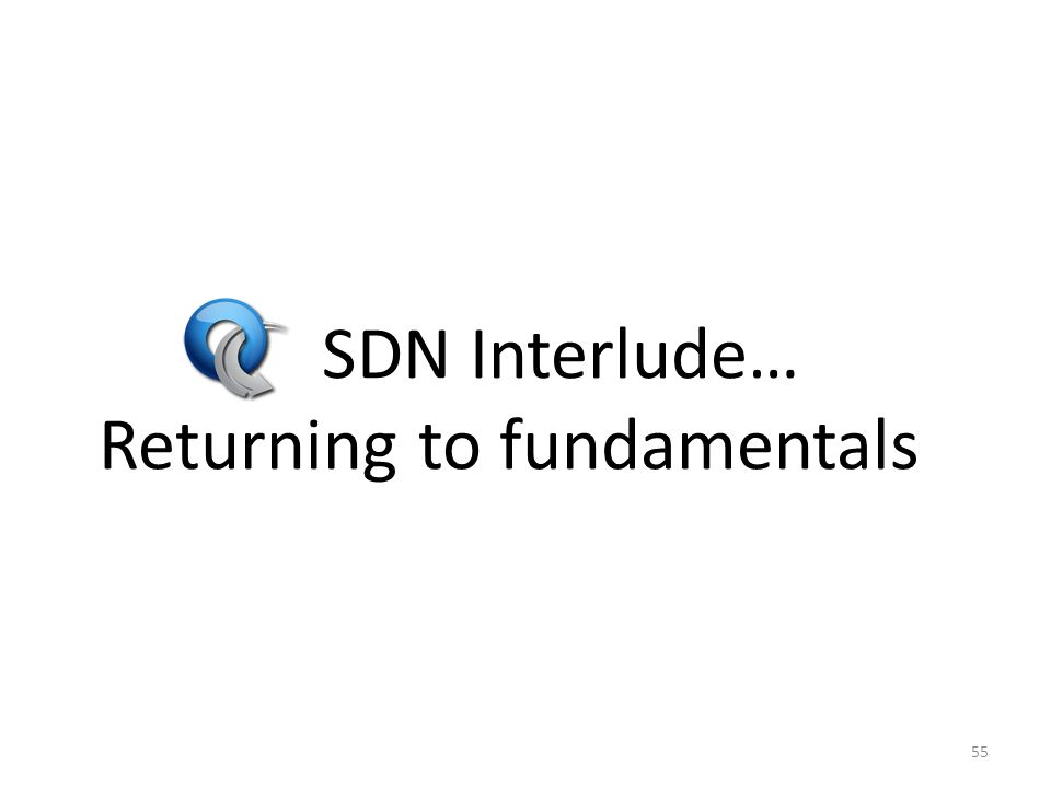 SDN Interlude… Returning to fundamentals 55