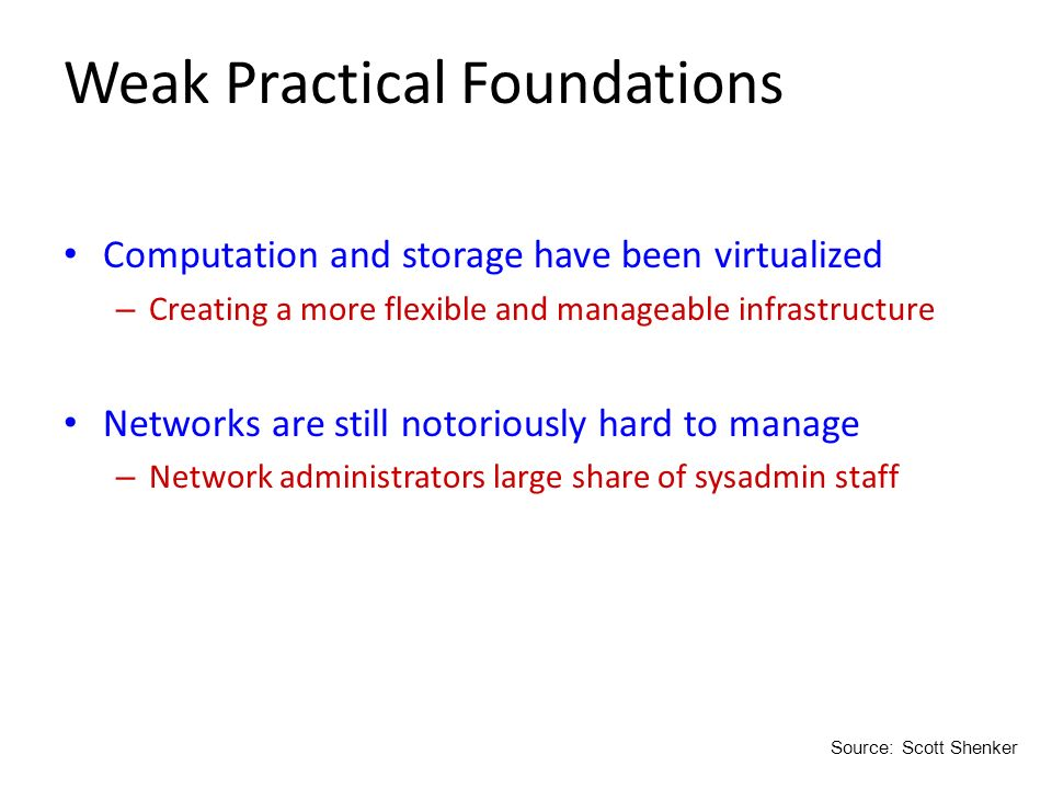 Weak Practical Foundations Computation and storage have been virtualized – Creating a more flexible and manageable infrastructure Networks are still n