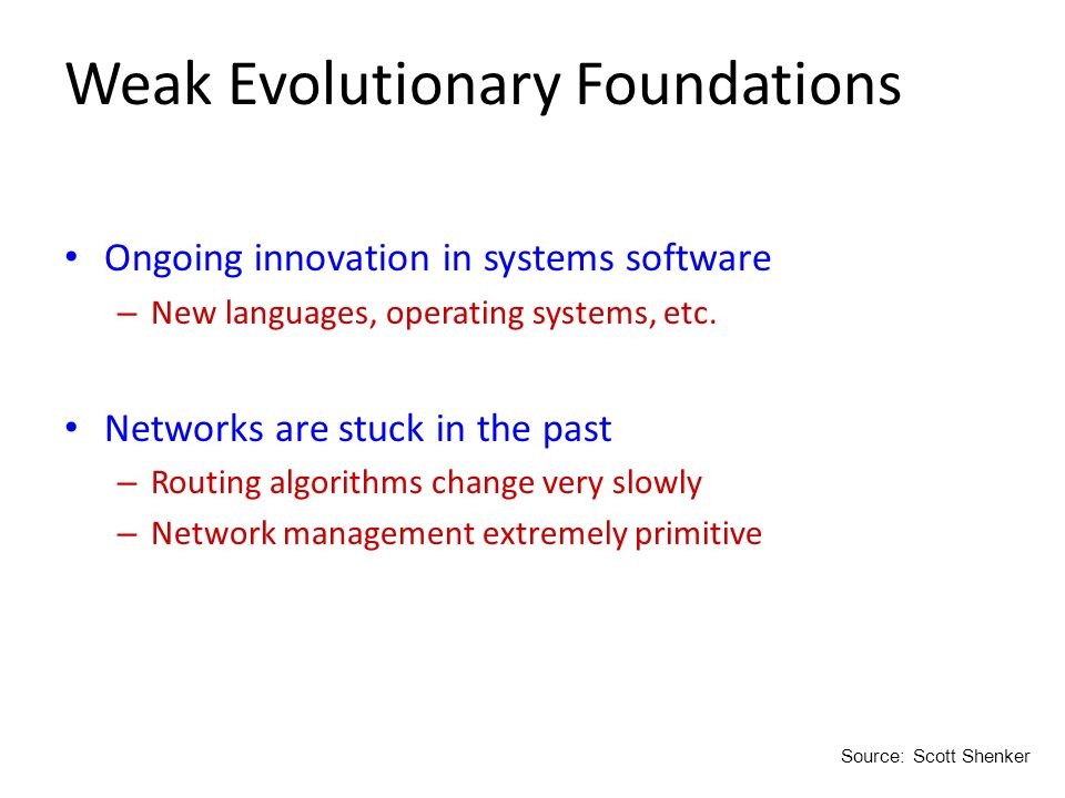 Weak Evolutionary Foundations Ongoing innovation in systems software – New languages, operating systems, etc. Networks are stuck in the past – Routing