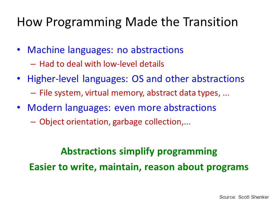 How Programming Made the Transition Machine languages: no abstractions – Had to deal with low-level details Higher-level languages: OS and other abstr