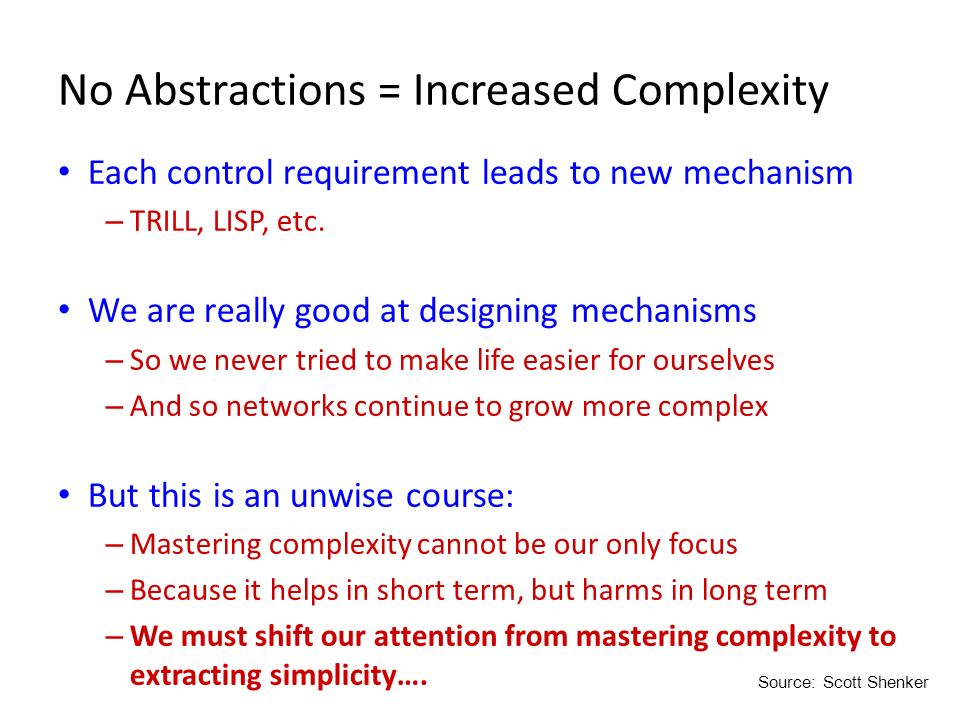 No Abstractions = Increased Complexity Each control requirement leads to new mechanism – TRILL, LISP, etc. We are really good at designing mechanisms