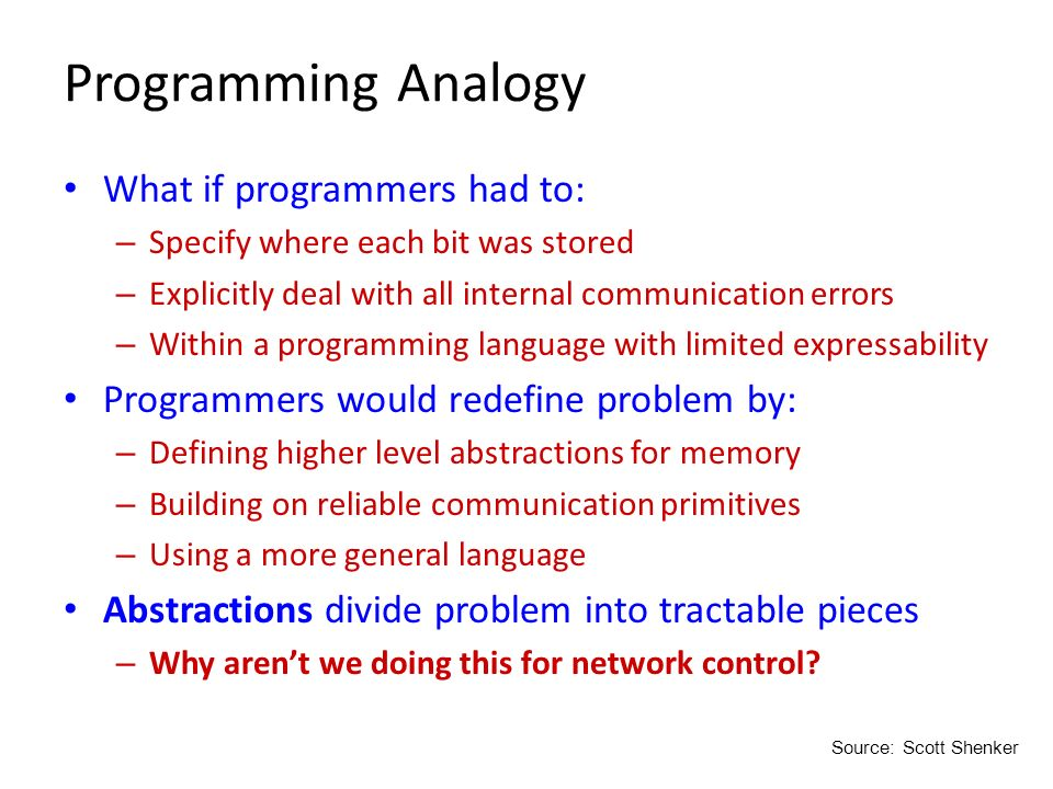 Programming Analogy What if programmers had to: – Specify where each bit was stored – Explicitly deal with all internal communication errors – Within