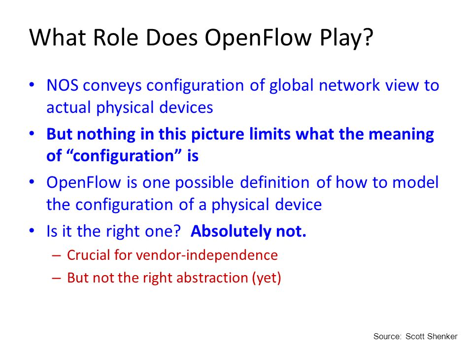 What Role Does OpenFlow Play? NOS conveys configuration of global network view to actual physical devices But nothing in this picture limits what the