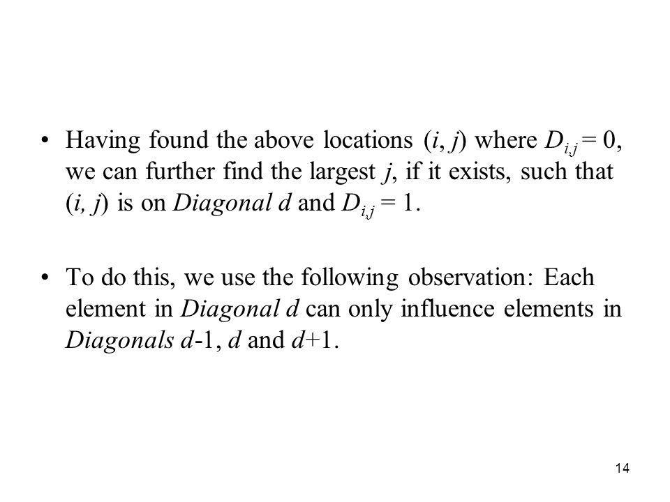 14 Having found the above locations (i, j) where D i,j = 0, we can further find the largest j, if it exists, such that (i, j) is on Diagonal d and D i