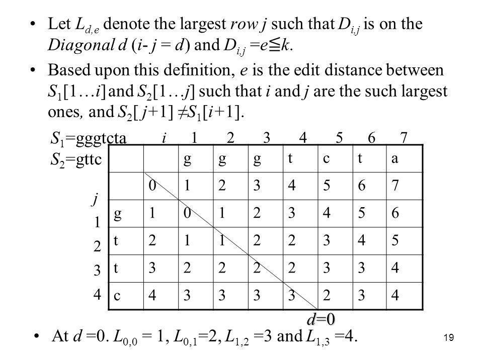 19 Let L d,e denote the largest row j such that D i,j is on the Diagonal d (i- j = d) and D i,j =e k. Based upon this definition, e is the edit distan