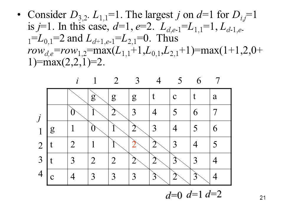 21 Consider D 3,2. L 1,1 =1. The largest j on d=1 for D i,j =1 is j=1. In this case, d=1, e=2. L d,e-1 =L 1,1 =1, L d-1,e- 1 =L 0,1 =2 and L d+1,e-1 =