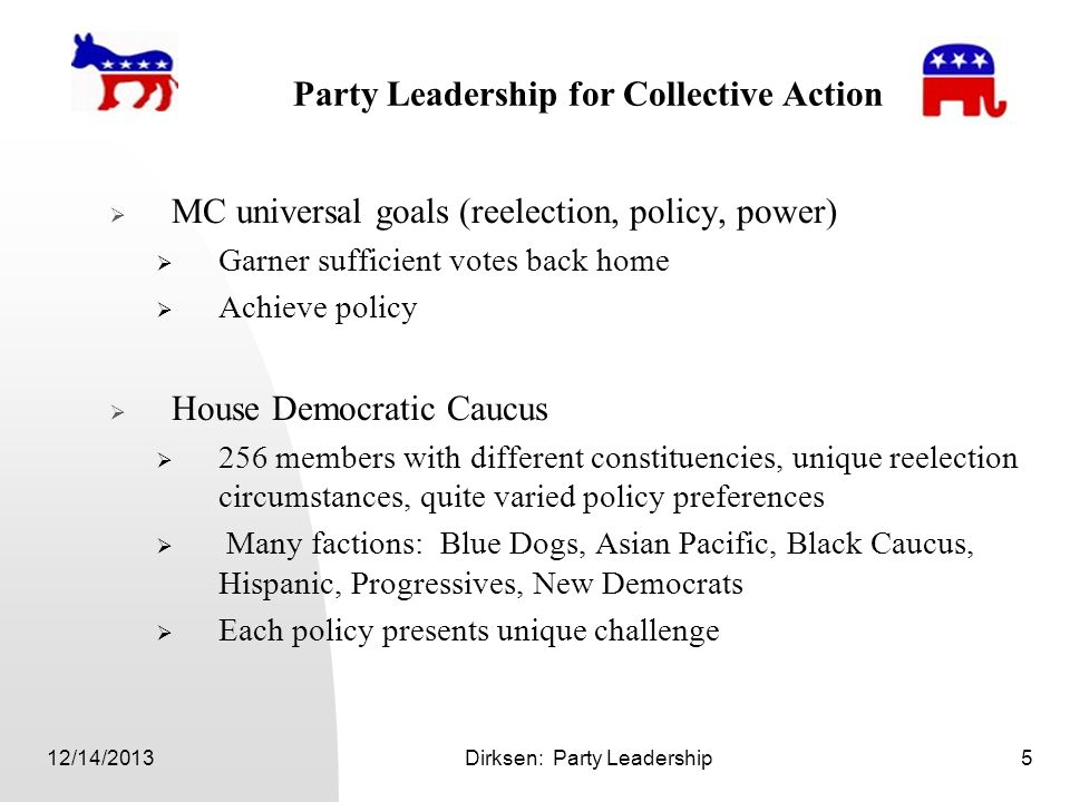 12/14/2013Dirksen: Party Leadership5 Party Leadership for Collective Action MC universal goals (reelection, policy, power) Garner sufficient votes bac