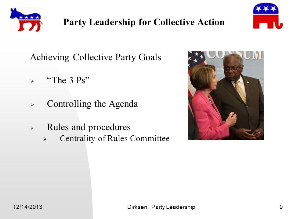 12/14/2013Dirksen: Party Leadership9 Party Leadership for Collective Action Achieving Collective Party Goals The 3 Ps Controlling the Agenda Rules and