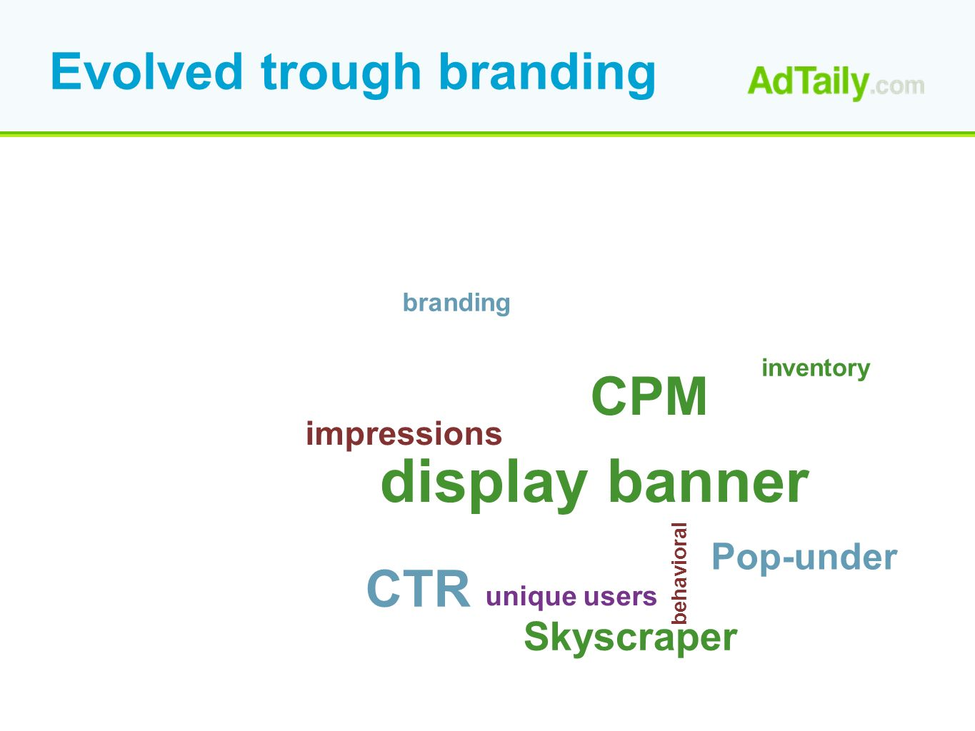 Evolved trough branding CPM display banner CTR Pop-under Skyscraper behavioral unique users impressions branding inventory